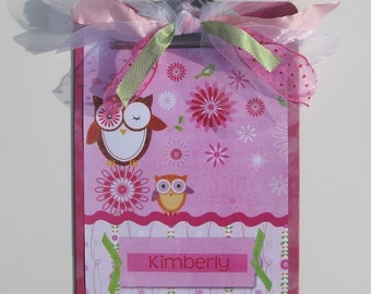 Owl Altered Clipboard Personalized Hot Pink 2 sided