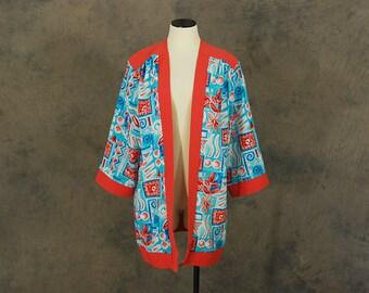 vintage 80s Duster Jacket - 1980s Draped Kimono Robe - Abstract Boho Duster Sz S M L