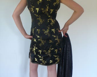 Retro 90s Traditional Chinese Cheongsam Qipao Black And Gold Mini Dress, Strange invitations were often dancing lessons from the goddess.