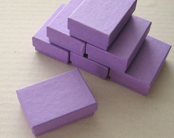 10 Purple Cotton Filled Jewelry Boxes High Quality 2 1/2 x 1 3/4 x 15/16 inches - Small