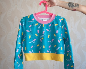 "IN STOCK ""Blue Fizz"" colourful retro printed cropped sweatshirt"