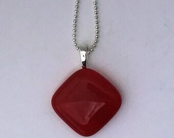 Red Mini Fused Glass Pendant