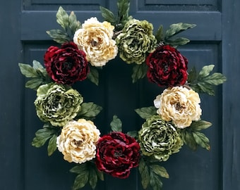 Burgundy Red, Cream (Off-White) and Green Artificial Peony Wreath for Christmas Holiday Front Door Porch Decor; 24 Inch