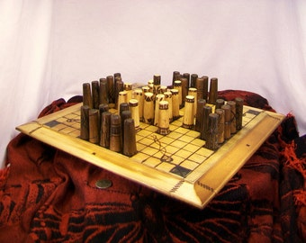 Hnefatafl-Ancient Viking game set- Wood burned-Free Shipping to U.S.