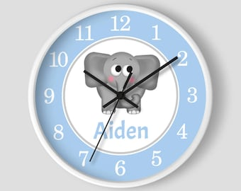 Elephant Personalized Nursery Wall Clock - Blue Gray Elephant with White Wood Frame - 10-inch Round Clock - Made to Order