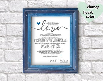 Unique Wedding Gift for Couple, Bride, Groom, Anniversary, Engagement, Valentines Day - Shakespeare Sonnet 116 Print Wall Art Download File