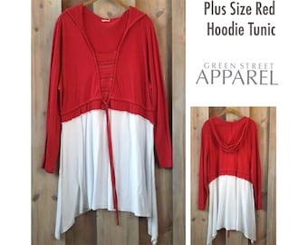 Red & White Hoodie Tunic, Upcycled Clothing, Flowy Tunic, Artsy Clothing, Flattering Tops, Boho Clothing, Weekend Wear, Refashioned Clothing