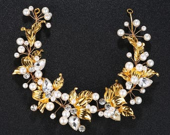 Hair vine bridal tiara for wedding-golden with pearl