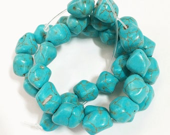 15 inch strand of synthetic Turquoise nugget beads 12x10mm, bulk turquoise nugget beads