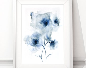 Navy Blue abstract flower artwork, Downloadable wall art, Abstract flower painting, Digital Download, printable image