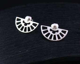 "Half moons ""-inspired Art Deco"" Silver earrings made by hand"