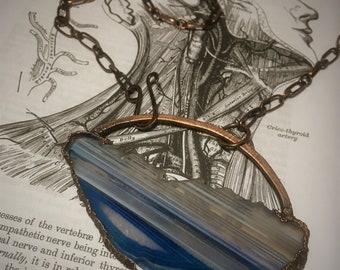Blue & White Striped Agate Slice Necklace