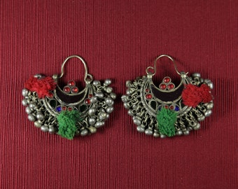 Real vintage stunning kuchi earrings crescent moon shape