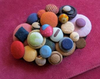 Vintage Suede Clutch Purse Bag with Vintage Button Embellishment