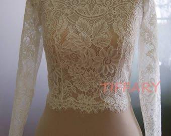 Wedding bolero, top, jacket of lace,alencon, sleeve long or 3/4 or short front of a full,  . Romance lace bridal bolero BRENDA