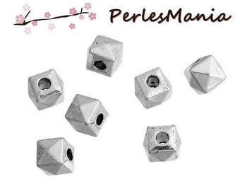METAL spacer beads 5mm silver plate S1181422 faceted cube