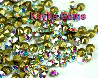 Rhinestone Chaton SS6 /2, SS8.5/2.5mm, SS12 /3mm, SS14/3.5mm, SS16/4mm, Pointed back Foiled - Clear AB -72 pcs -Pick Your Size