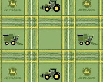 John Deere Tractors on Plaid Green Cotton Woven