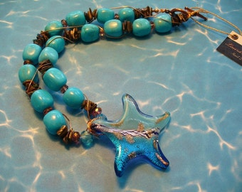 Turquoise Rounded  Rectangles Necklace with a Lampwork  Starfish Pendant