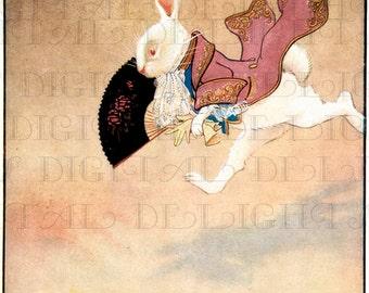From FIRST Edition. The White Rabbit. Gwyneth Hudson Art Deco ALICE in Wonderland Digital Download. VINTAGE Alice Illustration.