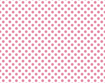 Hot Pink Small Dots on White Fabric by Riley Blake Designs - by the Yard - 1 Yard - C480-70