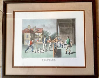 Skittles, Antique Lawn Bowling Framed 1800's Engraving by A.Player, G Hunt Engraving