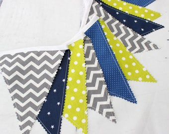 Bunting Flags, Fabric Garland, Chevron Nursery, Fabric Banner, Navy Blue, Lime Green, Gray, Grey Chevron, Baby Shower, Nursery Bunting