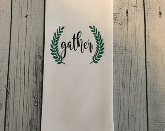 Gather, Gather Dish Towel, Gather Kitchen Towel, Dish Towel, Cute Dish Towel