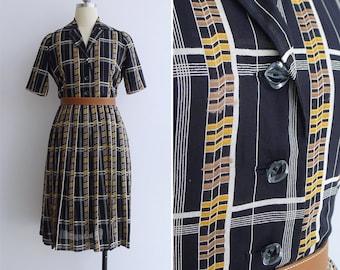 Vintage 50's Black Geometric Grid Cotton Shirtwaist Dress M or L