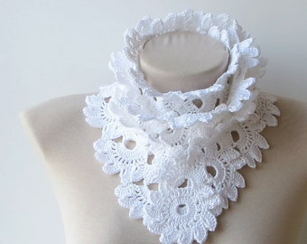 Summer scarf, White cotton scarf, Scarf women, Hand crochet scarf, Cotton crochet scarf, Lace knit scarf, Made to order, Lace scarf