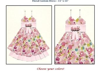 "CUSTOM Floral Hand Folded Paper Dress - 11"" x 14"" - Fully Customized! - Nursery Wall Decor Art"