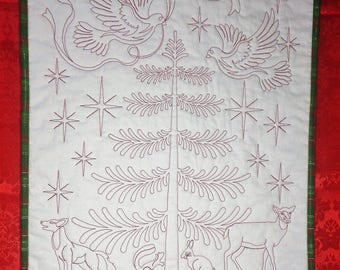 Christmas Redwork Quilted Kitchen Table Runner