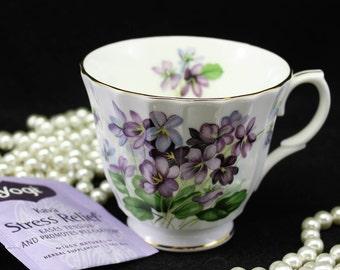 Tea Cup Duchess Fine Bone China Tea Cup with Purple Violets  England Gold trim  Gift for her  Bridal Shower Favor  Baby Shower Favor Vintage