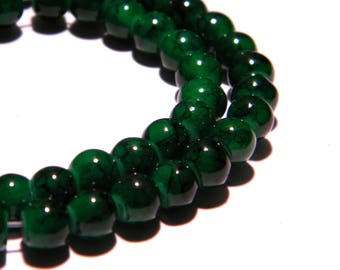 """100 glass beads """"reality"""" - 6 mm green marble - PG97 way"""
