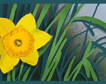 Flower Greeting Card, Blank, Daffodil Design No A6032