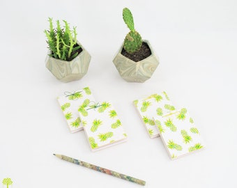 Mini Notepad/notebook in a stream pineapple patterned paper