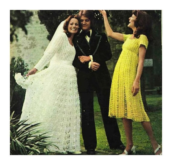 INSTANT PDF Download Vintage Seventies Crochet Pattern to make Bridesmaid Dress and Bride's WEDDING Dress Bridal Gown Retro Boho