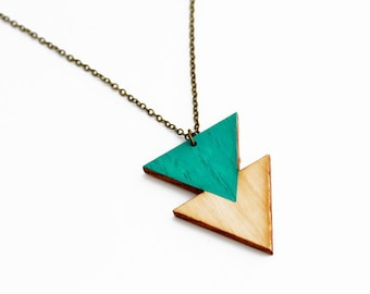 Geometric, double triangle wooden necklace - emerald green and natural wood - minimalist, modern jewelry - color blocking