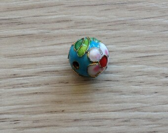 handcrafted 12 mm turquoise cloisonné bead