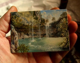 ACEO Original, Miniature Landscape Painting, Texas Hill Country, Painting of Hamilton Pool, Oil Painting, David Smith Landscape Painting