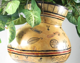 Hanging Gourd for Plants - Hand-Painted Southwest Tribal Gourd Vase - Tribal Decor Gourd - HouseWarming Gift - Kitchen Decorative Accessory
