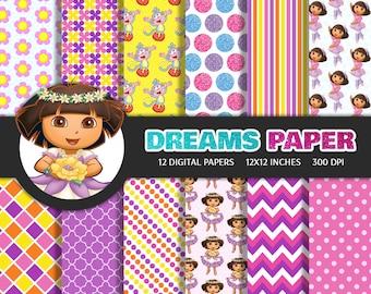 Dora - Digital Paper + Free Clipart