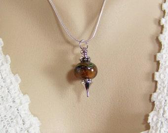 Lampwork Necklace, Pendulum Necklace, Boro Bead Necklace, Borosilicate Glass, Glass Bead Pendant, Dowsing Necklace, Glass Bead Pendant,Earth
