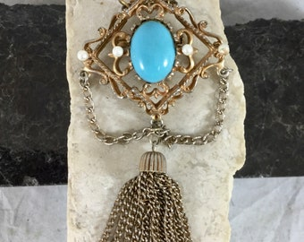 Vintage Victorian Style Gold Tone Brooch Pin Pendant Diamond Shape Faux Pearls Turquoise Stone Gold Chain Fringe
