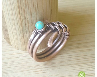 Band ring turquoise, wire wrapped ring, woven copper wire ring, wire wrap gemstone ring blue stone ring turquoise jewelry rings handmade