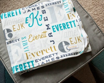 Baby Boy Monogram Blanket / Personalized Baby Blanket / Monogram Blanket - Organic Baby Blanket / Organic Swaddle / Modern Baby Blanket