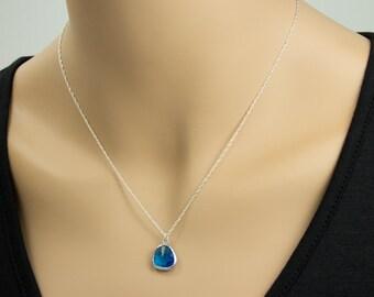 SALE! Capri Blue Color Glass  Necklace, Capri Blue Color Glass Necklace, Sterling SIlver,  -  Cute, Dainty, mother, mom, teen