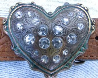 Vintage Justin Cowhide Leather Belt with Rhinestone Heart Buckle