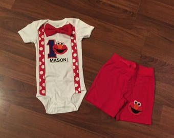 Elmo Personalized Embroidered First birthday, Boys birthday outfit, Baby boy first birthday, Elmo party, elmo suspender outfit