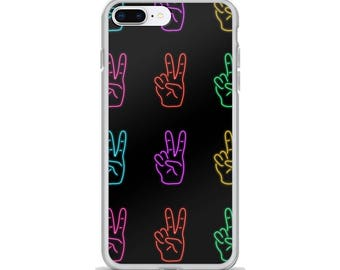 Neon Peace Sign Phone Case, Neon Sign Phone Case, Rainbow Phone Case, Cool Phone Cases, Made to Order
